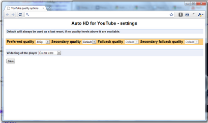 Google Chrome, расширение Auto HD for YouTube, 720p